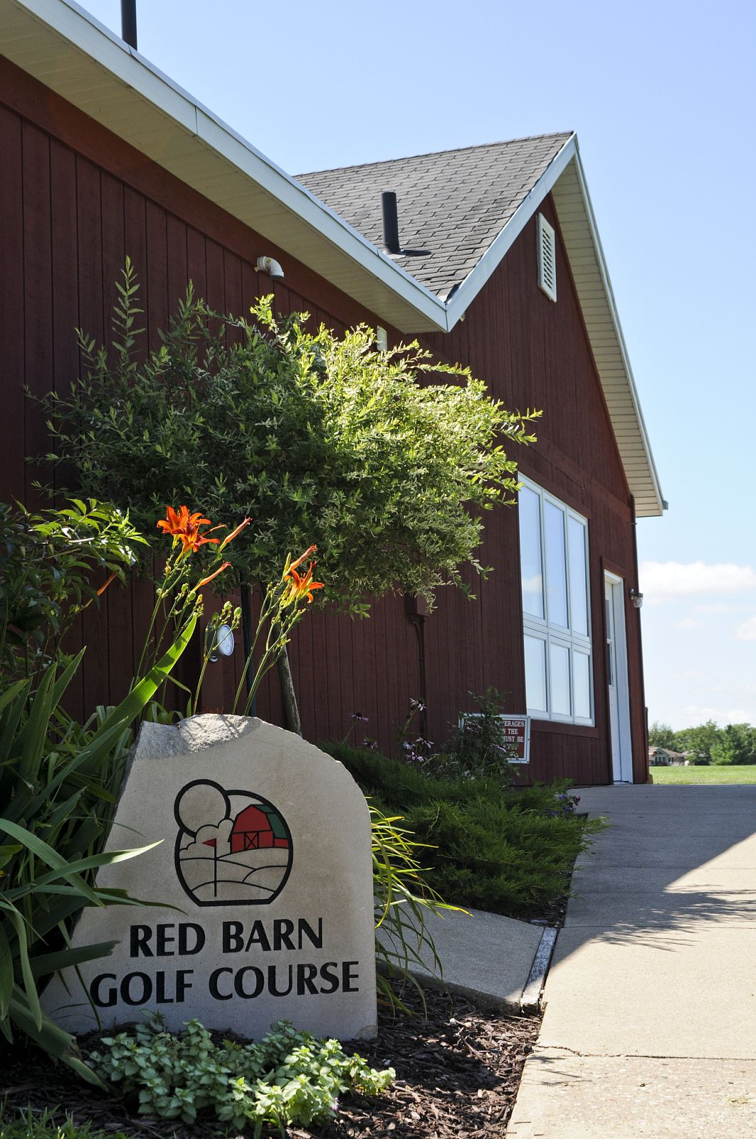 side walk red barn